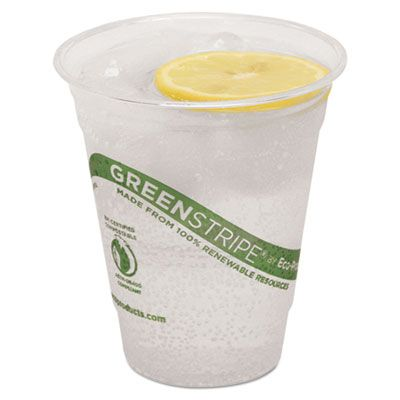 Eco-Products EPCC12GS GreenStripe 12 oz Cold Cups, PLA, Clear / Green - 500 / Case