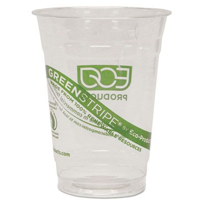 Eco-Products EPCC16GS GreenStripe 16 oz Plastic Cold Cups, PLA, Clear / Green - 500 / Case
