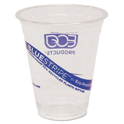 Eco-Products EPCR12 12 oz Plastic Cold Cups, Recycled PET, Clear / Blue Stripe - 500 / Case