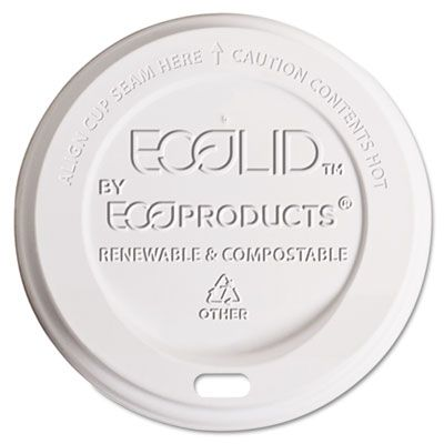 Eco-Products EPECOLIDW Lids for 10-20 oz Hot Cups, Plant-Based Plastic, White - 800 / Case