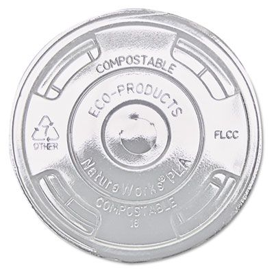 Eco-Products EPFLCC GreenStripe Compostable PLA Plastic Flat Lids for 9, 12, 16 & 20 oz Cold Cups, Clear - 1000 / Case