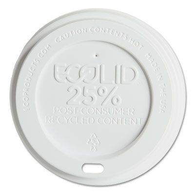 Eco-Products EPHL16WR Lids for 10-20 oz Evolution World Hot Cups, Recycled Plastic, White - 1000 / Case