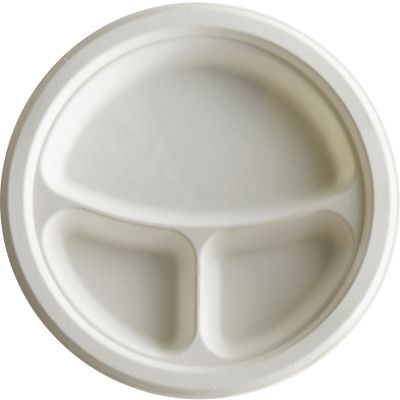 "Eco-Products EPP007 10"" Sugarcane Plates with 3 Sections, White - 500 / Case"