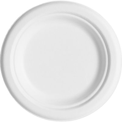 "Eco-Products EPP016 6"" Sugarcane Plates, White - 1000 / Case"