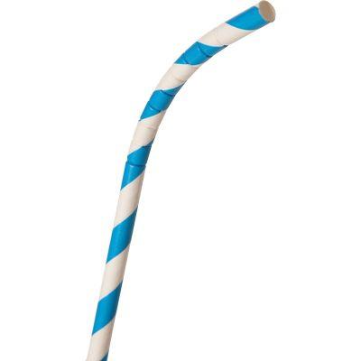 "Eco-Products TP7BLUR Paper Straws, Flex, 7-3/4"" x 1/4"", Blue / White Striped - 3200 / Case"