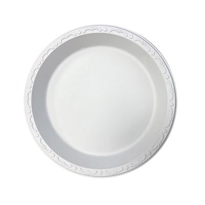 "Ecopax PP091 9"" Pebble Plates, Mineral / Polypropylene, White - 400 / Case"