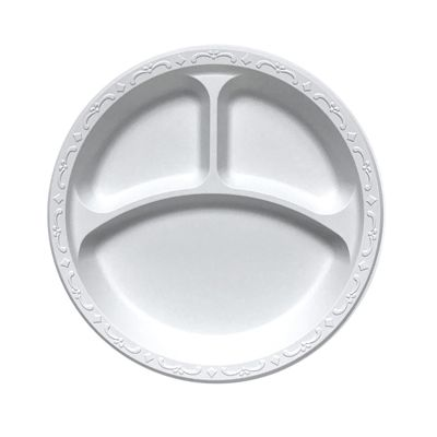 "Ecopax PP093 9"" 3 Compartment Plates, Minerals / Polypropylene, Ivory - 400 / Case"