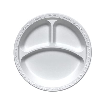 "Ecopax PP103 10.25"" 3 Compartment Pebble Plates, Minerals / Polpropylene, Ivory - 400 / Case"