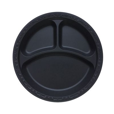"Ecopax PP103-BK 10.25"" 3-Compartment Pebble Plates, Minerals / Polypropylene, Black - 400 / Case"