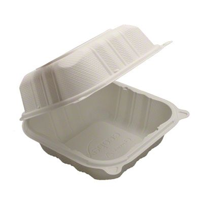 "Ecopax PP225 Sandwich Plastic Hinged Lid Container, Polypropylene, 6"" x 6"" x 3.25"", White - 250 / Case"