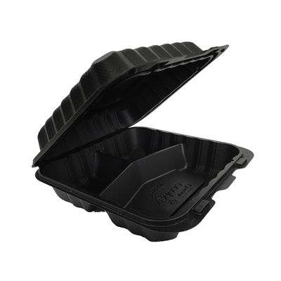 "Ecopax PP883BK Medium Hinged Lid Plastic Carryout Containers, 3 Compartment, Polypropylene, 8"" x 8"" x 3"", Black - 150 / Case"