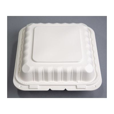 "Ecopax PP993S Large Plastic Hinged Lid Carryout Container, Polypropylene, 9.1"" x 8.8"" x 3"", White - 150 / Case"