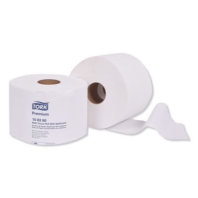 Essity 106390 Tork Premium Toilet Paper, OptiCore, 2 Ply, 800 Sheets / Roll, White - 36 / Case
