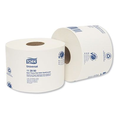 Essity 112990 Tork Universal Toilet Paper Roll w/ OptiCore, 1 Ply, 1755 Sheets / Roll, White - 36 / Case