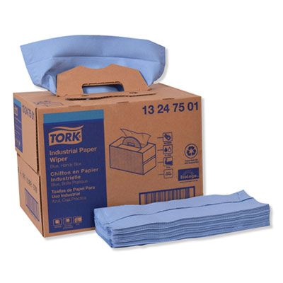"Essity 13247501 Tork Industrial Paper Wipers, 4 Ply, 12.8"" x 16.5"", Blue - 180 / Case"