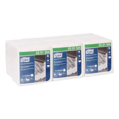 "Essity 5301505 Tork Heavy-Duty Cleaning Cloths, 12.6"" x 13"", White - 300 / Case"