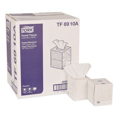 Essity TF6910A Tork Premium Facial Tissue, 2 Ply, 94 Sheets / Cube Box, White - 36 / Case