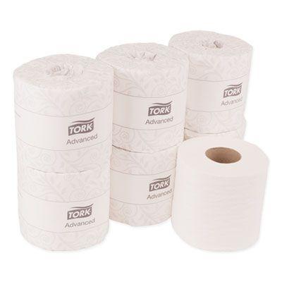 Essity TM6184 Tork Advanced Toilet Paper, 2 Ply, 550 Sheets / Standard Roll, White - 80 / Case