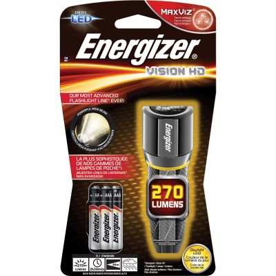 Eveready EPMHH32E Energizer Vision HD LED Flashlight, Metal, 270 Lumens, Wide Beam, Chrome - 1 / Case