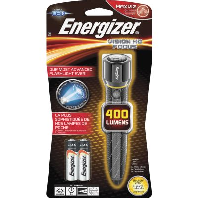 Eveready EPMZH21E Energizier Vision HD Digital Focus LED Flashlight, Metal, 400 Lumens, Chrome - 1 / Case