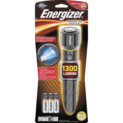 Eveready EPMZH61E Energizer Vision HD Digital Focus LED Flashlight, Metal, 1300 Lumens, Chrome - 1 / Case
