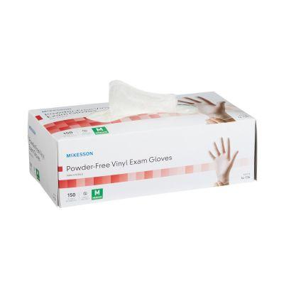 McKesson 14-136 Vinyl Exam Gloves, Powder Free, Smooth, Medium, Clear - 150 / Case