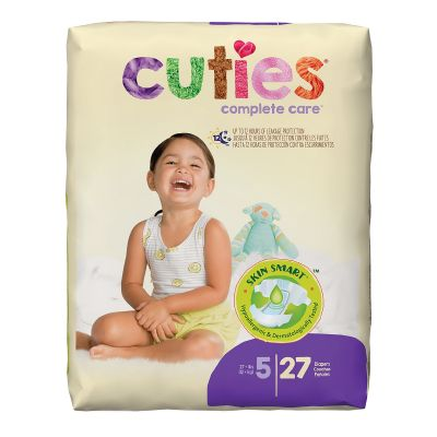 First Quality CR5001 Cuties Baby Diapers, Size 5 (27+ lbs), Heavy Absorbency - 108 / Case