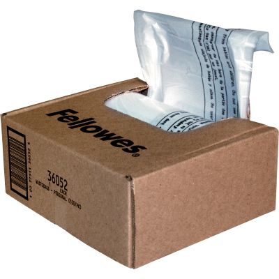 "Fellowes 36052 6-7 Gallon Shredder Bags for Small Home / Office, 15"" x 9"" x 26"", Clear - 100 / Case"