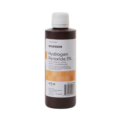McKesson 23-F0010 Hydrogen Peroxide 3% Antiseptic Topical Liquid, 4 oz Bottle - 1 / Case