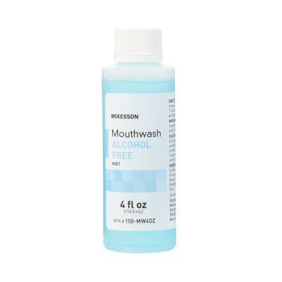 McKesson 150-MW4OZ Mouthwash, Alcohol Free, Mint Flavor, 4 oz Bottle - 60 / Case