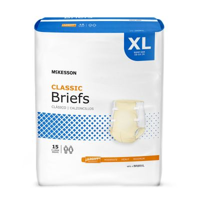 """McKesson BRBRXL Classic Incontinence Brief, Adult Unisex, X-Large (59 to 64""""), Light Absorbency - 15 / Case"""