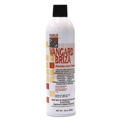 Franklin F811015 Vangard Briza Surface Disinfectant / Space Spray, Linen Fresh Scent, 16 oz Aerosol Can - 12 / Case
