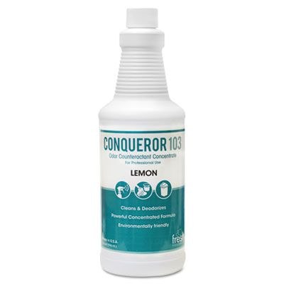 Fresh Products 1232WBLE Conqueror 103 Odor Counteractant Concentrate, Lemon, 32 oz Bottle - 12 / Case