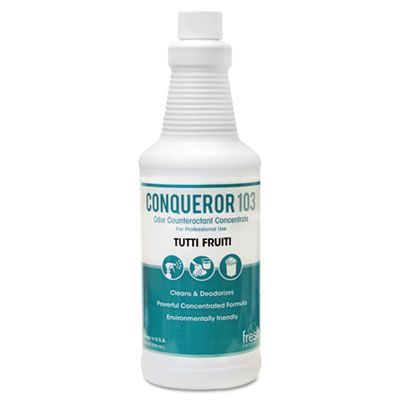 Fresh Products 1232WBTU Conqueror 103 Odor Counteractant Concentrate, Tutti-Frutti, 32 oz Bottle - 12 / Case