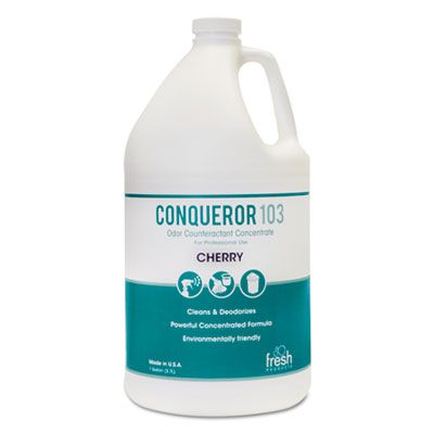 Fresh Products 1WBCH Conqueror 103 Odor Counteractant Concentrate, Cherry, 1 Gallon Bottle - 4 / Case