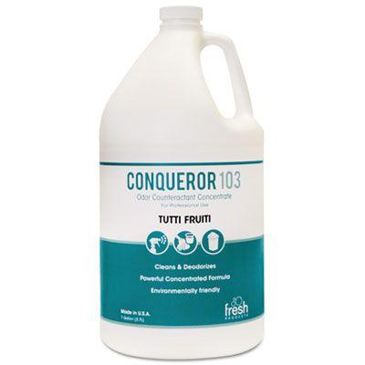 Fresh Products 1WBTU Conqueror 103 Odor Counteractant Concentrate, Tutti-Frutti, 1 Gallon Bottle - 4 / Case