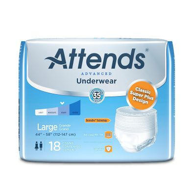 """Attends APP0730 Advanced Absorbent Underwear, Large (44 to 58""""), Heavy Absorbency - 18 / Case"""