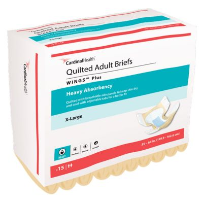"""Cardinal Health 66035 Wings Quilted Incontinence Brief w/ Tabs, Adult Unisex, X-Large (59 to 64""""), Heavy Absorbency - 15 / Case"""