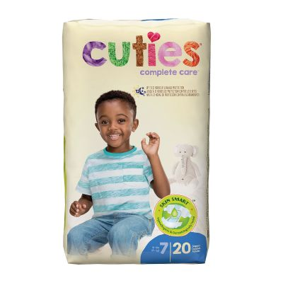 First Quality CRD701 Cuties Baby Diapers, Size 7 (41+ lbs), Heavy Absorbency, White - 20 / Case