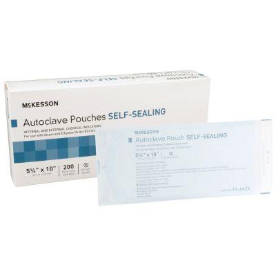 "McKesson 16-6424 Autoclave Pouches, Self-Sealing, Class 1 Sterilization, 5.25"" x 10"", Transparent Blue / White Paper / Film - 200 / Case"