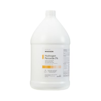 McKesson 23-A0013 Hydrogen Peroxide 3% Topical Solution USP, Liquid, First Aid Antiseptic, 1 Gallon Bottle - 1 / Case