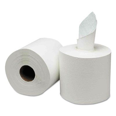 """General 1925 Center Pull Roll Paper Hand Towels, 8"""" x 500', White - 6 / Case"""