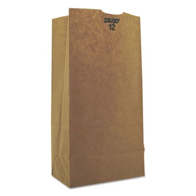 "General GH12 12 lb Paper Grocery Bags, 50#, 7-1/16"" x 4-1/2"" x 13-3/4"", Kraft - 500 / Case"