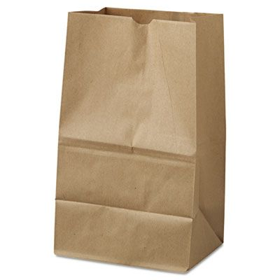"General GK20S500 20 lb Squat Paper Grocery Bags, 40#, 8-1/4"" x 5-15/16"" x 13-3/8"", Kraft - 500 / Case"