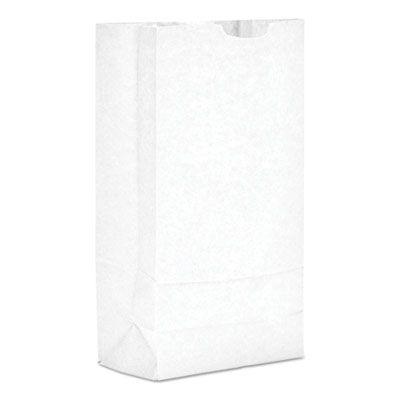 """Genearl GW10500 10 lb Paper Grocery Bags, 35#, 6-5/16"""" x 4-3/16"""" x 13-3/8"""", White - 500 / Case"""