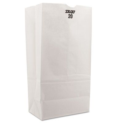 "General GW20500 20 lb Paper Grocery Bags, 40#, 8-1/4"" x 5-5/16"" x 16-1/8"", White - 500 / Case"