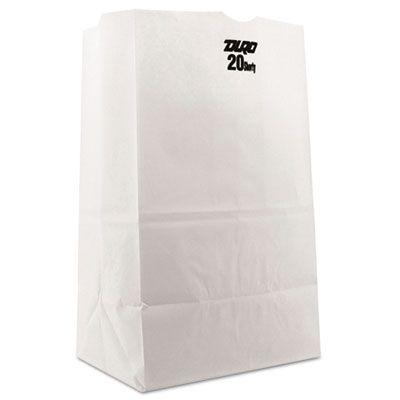 "General GW20S500 20 lb Squat Paper Grocery Bags, 40#, 8-1/4"" x 5-15/16"" x 13-3/8"", White - 500 / Case"