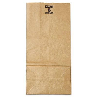 "General GX16 16 lb Paper Carryout Bags, 57#, 7-3/4"" x 4-13/16"" x 16"", Kraft - 500 / Case"