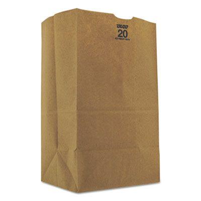 "General GX2060S 20 lb Squat Paper Grocery Bags, 57#, 8-1/4"" x 5-5/16"" x 13-3/8"", Kraft - 500 / Case"