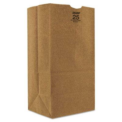 "General GX2560S 25 lb Paper Carryout Bags, 57#, 8-1/4"" x 6-1/8"" x 15-7/8"", Kraft - 500 / Case"